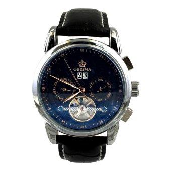 Orkina Men's Black Dial Tourbillon Automatic Leather Strap Fashion Wrist Watch ORK-0241X