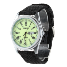 ORKINA P1012 Men's Military Style Double Calendar Watches W / Luminous Pointer / Roman Dial -Black + Luminous Green (Intl)