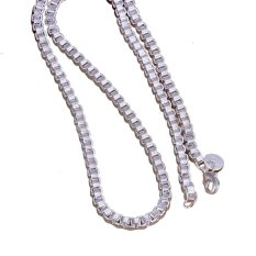 Ouhofus 925 Silver 4MM Fashion Unique Simple Personalized Women Men Snake Rope Chain Long Necklace Pendant Jewellery Best Creative Birthday Party Gifts