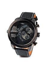 Oulm 3130 Men's Boys Big Round Dial Dual Time Display Quartz Wrist Watch with PU Band Black