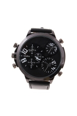 Oulm 9423 Men's Boys Big Round Dial Three Time Display Quartz Wrist Watch with PU Band Black