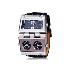 Oulm 9525 Men's Sports Analog Watch with Three Time Zone Leather Strap Black (Intl)