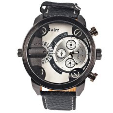 Oulm Chronograph Function Men Genuine Leather Quartz Wristwatch