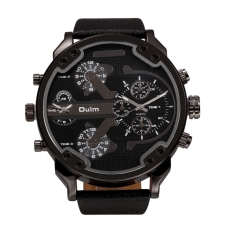 OULM Fashion Oversized Dual Dial Display Time Chronograph PU Leather Band Men's Watch (Black)