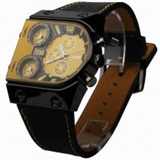 Oulm Men's Army Watches Three Time Zone Quartz Movement Leather Band Analog Wrist Watch Yellow