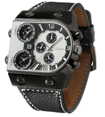 Oulm Men's Waches Three Quartz Moverment Three Time Zone Leather Band Analog-Digital Wrist Watch - Intl