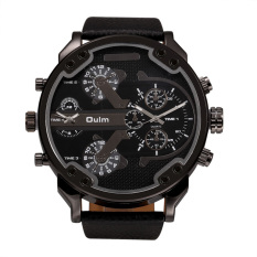 OULM Oversized Dual Dial Display Time Chronograph PU Leather Band Men's Watch (Black)