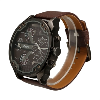 OULM Oversized Dual Dial Display Time Chronograph PU Leather Band Men's Watch (Coffee)