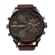 OULM Oversized Dual Dial Display Time Chronograph PU Leather Band Men's Watch (Coffee) - Intl
