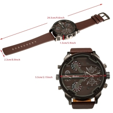 OULM Oversized Dual Dial Display Time Chronograph PU Leather Band Men's Watch (White)