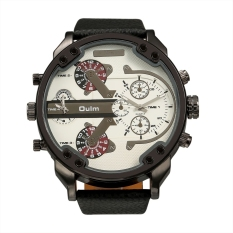 OULM Oversized Dual Dial Display Time Chronograph PU Leather Band Men's Watch (White) - Intl