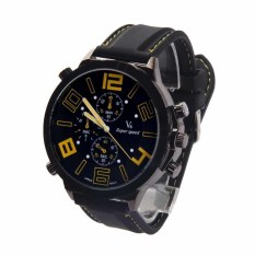 Oversize Men Quartz Silicone Cool Watch Racing Sport Army Watch Yellow Mark (Black) (Intl)
