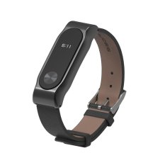 oxoqo Gen PU Leather Replacement Band Stainless Steel Watch Strap Wristband For Xiaomi Miband 2 - intl