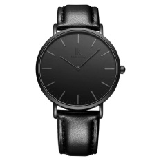 oxoqo IK colouring Ultra Thin Minimalist Fashion Casual Mens Watches Top Brand Luxury Genuine Leather Strap Quartz Watch Business Man (BlackDark gray)