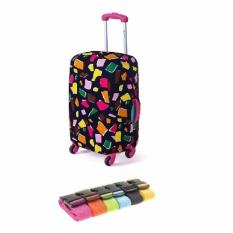 Paket First Project Safebet Sarung Pelindung Koper Bermotif Printed Elastic Luggage Cover Protector .