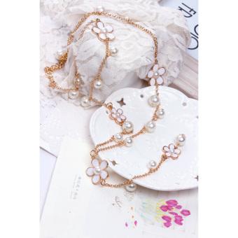 Jual Pearl Yang Elegan Wanita Baju Panjang Bunga Rantai Kalung Pasangan Mode Perhiasan .