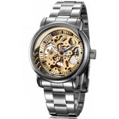 Perfect IK Apa Qi Double-sided Hollow Automatic Mechanical Watch Men Watch Men's Business Strip Watch 98190G (Gold) - Intl