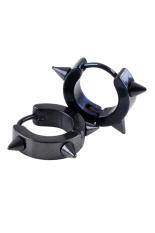 Phoenix B2C Unisex Titanium Steel Punk Rivet Ear Studs Spike Hoop Huggie Piercing Earrings (Black)