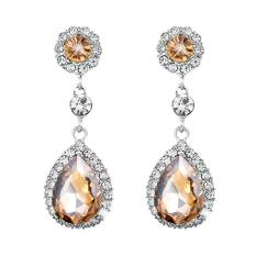 Phoenix B2C Women Luxury Waterdrop Chandelier Stud Earrings Rhinestone Crystal Jewelry Gift (Champagne)