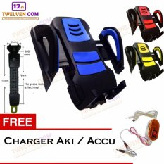 Phone Holder Bracket Universal Holder Spion Untuk Motor - Free Charger Via Accu