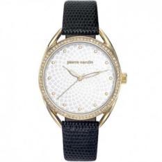 Pierre Cardin - Jam Tangan Wanita - Gold-Putih Ring Diamond - Strap Hitam - PC901872F03 (Gold)