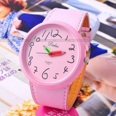 Pink Lady Girl Cartoon Cute Pen Hands Analog Quartz New PU Leather Band Fashion Casual Wristwatch Women Dress Watch WAA176 - Intl