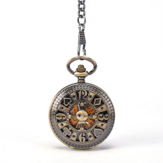 Poke Card Bronze Pirate Skull Round Mechanical Pocket Watch Automatic Self - Wind Vintage Antique Men Military Pocket Watch - Intl