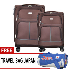 Polo Team Tas Koper SET 3308 - Size 20+24 INCH - FREE JAPAN TRAVEL BAG - [Cokelat]