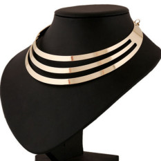 Popular Metal Multi Layer Statement Choker Necklace Bib Collar Charm Necklace Golden - Intl
