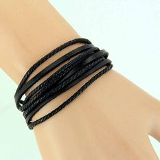 Women Men Girl Wrap Multilayer Genuine Leather Bracelet Braided Rope Jewelry Black (Intl)