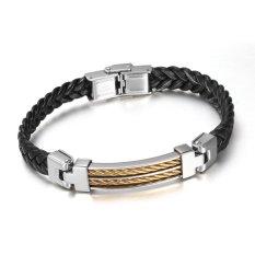 PU Braided Leather Cord Titanium Steel Bracelet Bracelets Friendship Bracelet Trend In Europe And America