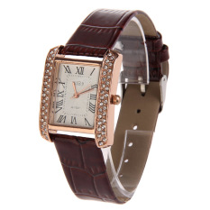PU Leather Band Women Watch Alloy Square Diamante Face Watch Brown