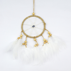 Pure Handmade Beige Dream Catcher Lucky Charm Pendant With White Feathers Circular Net Coloured Glaze & Wooden Beads Car Wall Hanging Wind Chimes Indian Style
