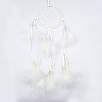 Pure Handmade White Feathers Dream Catcher Pendant With Circular Net Wooden Beads Turkey Fluff Car Charm Wind Chimes Indian Style