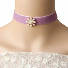 Purple Velvet Pearl Rhinestone Ornate Lolita Choker Collar Necklace