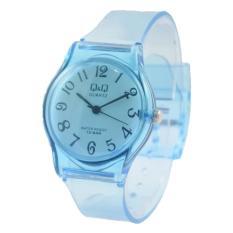 Q&Q jam tangan anak/remaja putra/putri QMoe121a rubber stap transparan -anti air