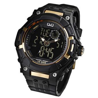 Q&Q Jam Tangan Pria Original Dual Time - Hitam - Strap Resin GW80J001NY