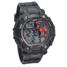 Q&Q M150 Jam Tangan Pria Sporty Rubber Strap - Black RED