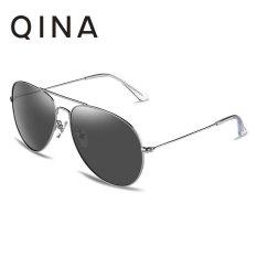 QINA Kacamata Polarized Pria Silver Pilot Lensa Abu Abu Proteksi UV 400 QN3526