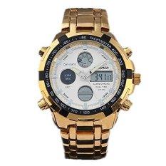 QUAMER 165 Quartz Sport Muti-Functional Wrist Watch With Analog&Digital Time Display (Gold + White) - Intl