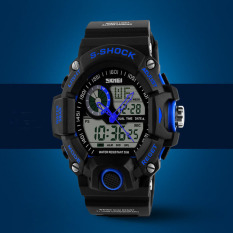 Quartz Digital Camo Watch Men Dual Time Man Sports Watches Men Skmei S Shock Military Army Reloj Hombre LED Wristwatches (Blue)