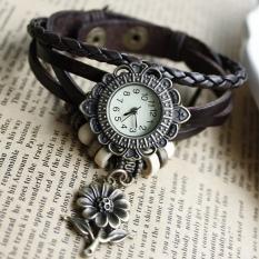 Quartz Sunflower Weave Wrap Synthetic Leather Bracelet Women's Wrist Watch 8 Colors (Black)