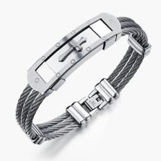 Queen Creative Korean Men's Casual Classic Cross Titanium Steel Bracelet (Silver)