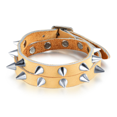 Queen Gothic Metal Spikes Rock Wind Rivet British Style Leather Bracelet (Yellow)