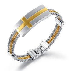 Queen Italy Three Times Between Steel Braided Rope Gold Cross Titanium Steel Men's Bracelet (Golden)