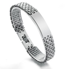 Queen Korea Simple Fashion Business Gifts Men's Titanium Steel Bracelet (Silver)