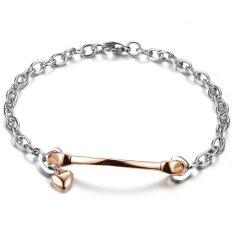 Queen Simple Women's Heart-shaped, Star Titanium Steel Bracelet Jewelry Wholesale (Rose Gold)
