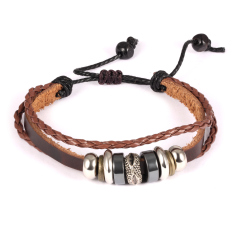 Queen Unisex Bohemian Hand-Woven Leather Multilayer String Of National Style Wooden Beads Bronze Bracelet (Brown)