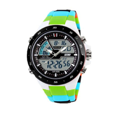 Readeel Men Sports Watches Waterproof Fashion Casual Quartz Watch Digital & Analog Military Multifunctional Men's Sports Watches (Green)