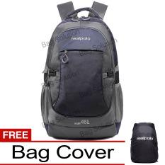 Real Polo Tas Ransel Kasual Jumbo 6331 Backpack XL Bonus Bag Cover - Biru Tua